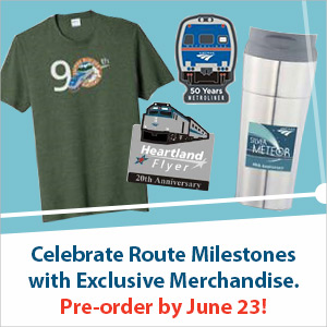 Advertisement with images of a shirt, travel mug and pins.