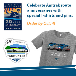 Describes Amtrak merchandise available to celebrate route anniversaries in 2020.