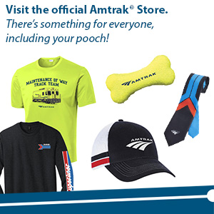 Amtrak Store ad showing t-shirts, hat and other merchandise.