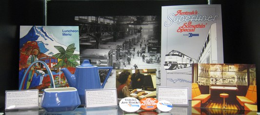 Amtrak History display with early china and Superliner memorabilia, MOT, St. Louis.