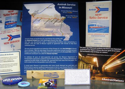Amtrak display showing Amtrak in Missouri since 1971