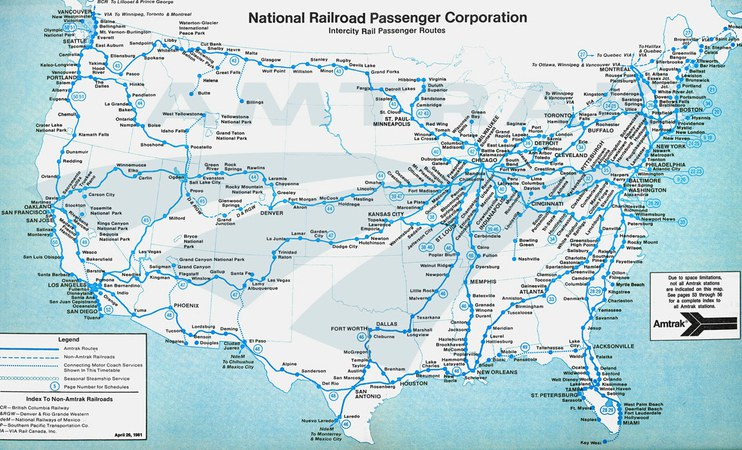 Amtrak system map 1981 Amtrak History of Americas Railroad