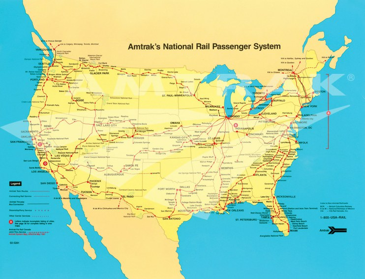 Amtrak system map, 1991.
