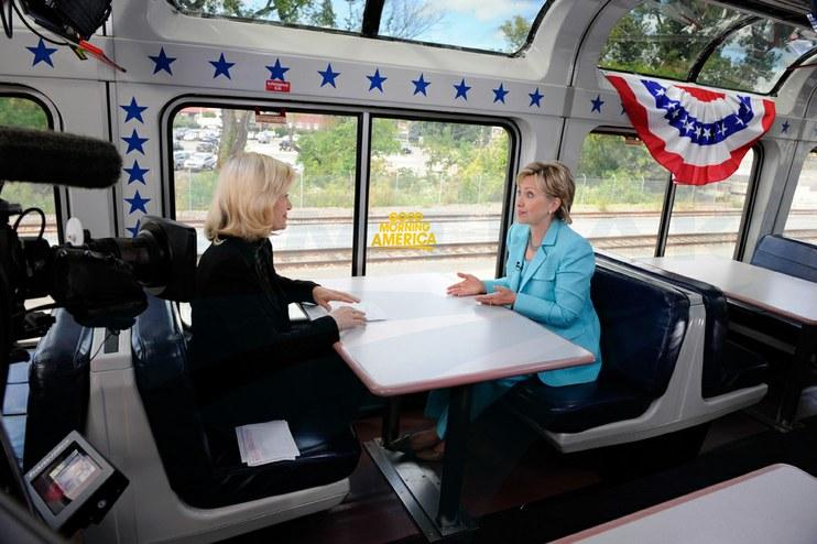 "Sen. Hillary Clinton interviewed on the ""Good Morning America"" Train, 2008."