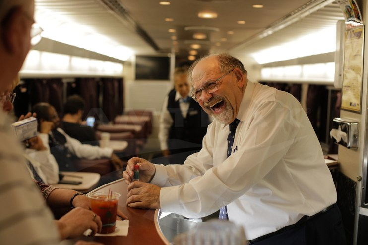 A hearty laugh on the <i>Auto Train</i>, 2016.