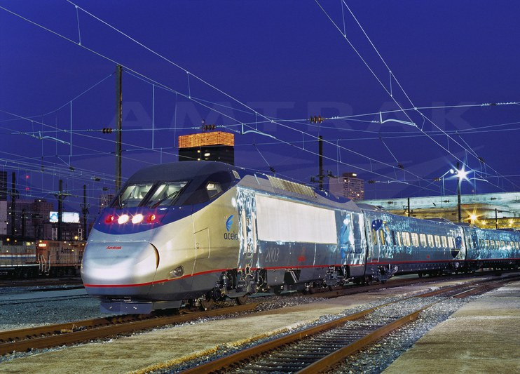 <i>Acela Express</i> at night, 2000s.