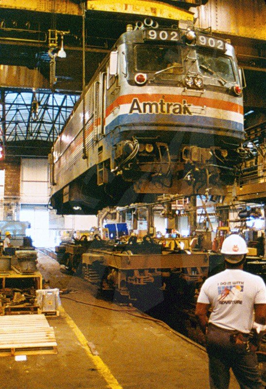 AEM-7 locomotive #902 on a crane.