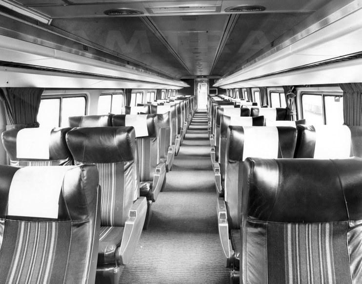 Amfleet coach car No. 21800 interior, 1981.