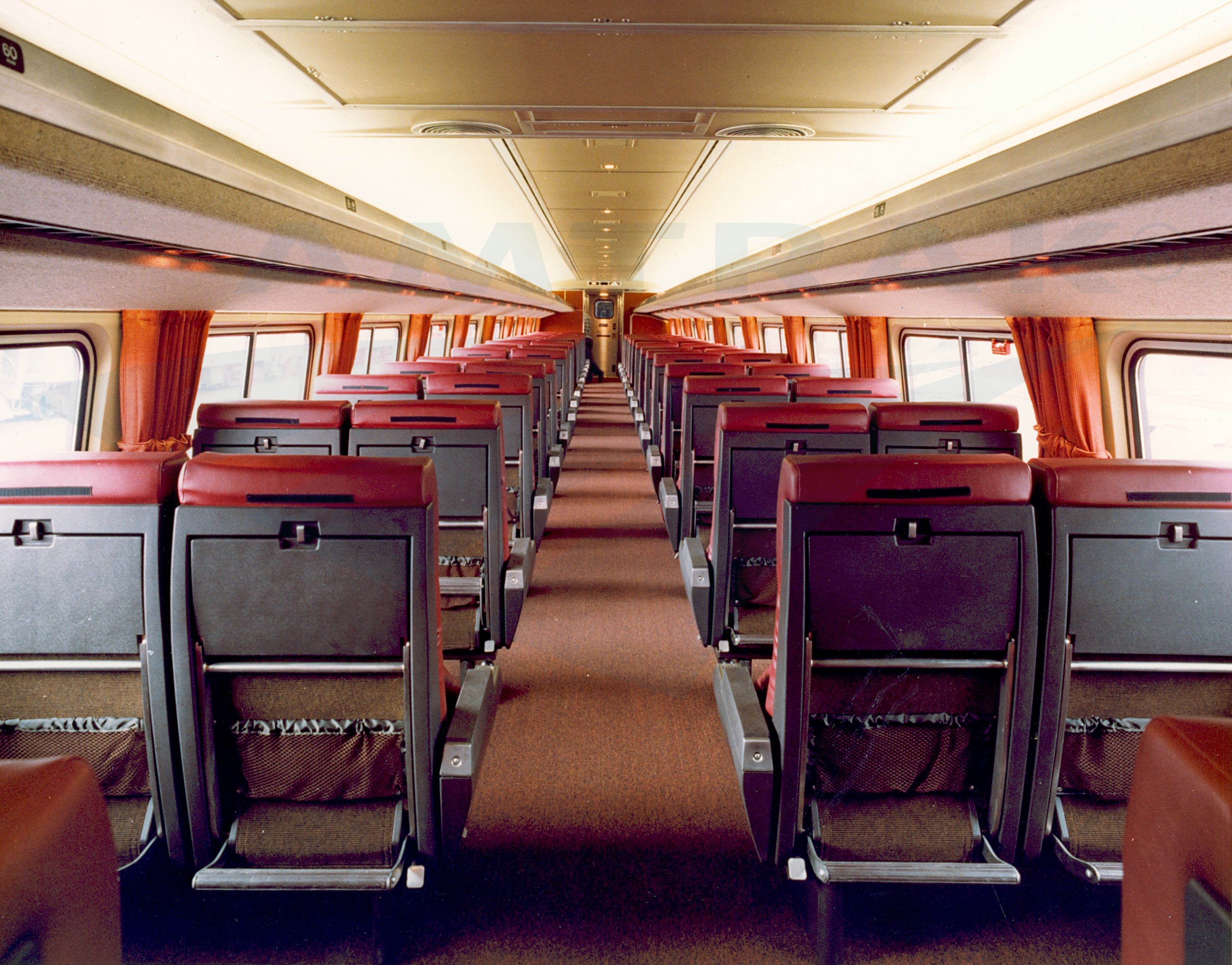 Amfleet ii coach interior 1980s amtrak history of for Interior images