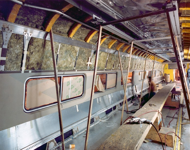 Amfleet II coach under construction, 1980s.