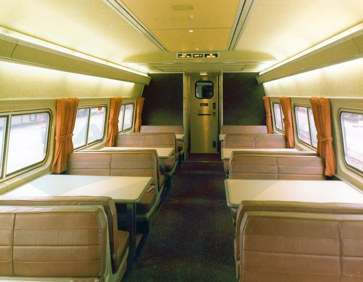 Amfleet II food service car No. 28000, 1980s.
