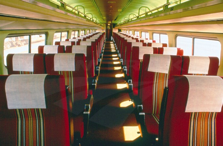 Amfleet coach car interior, 1990s.