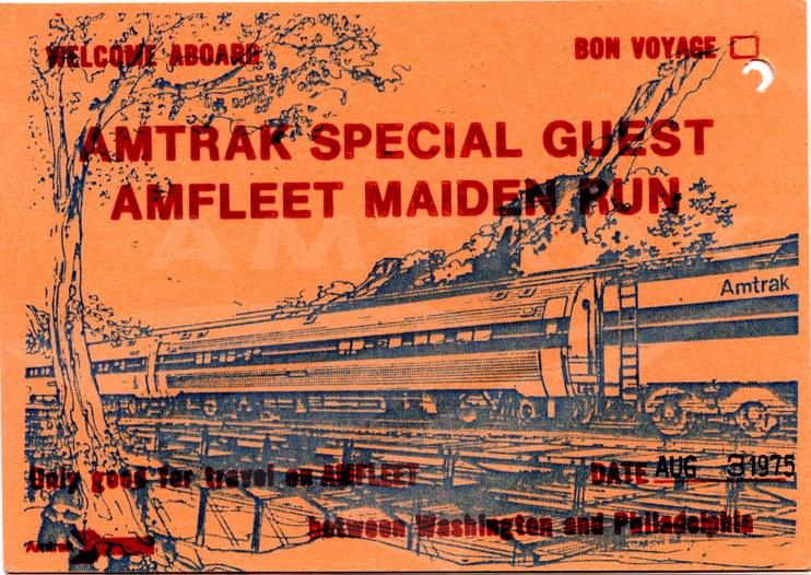Amfleet maiden voyage card, 1975.