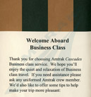 <i>Amtrak Cascades</i> Business Class brochure.