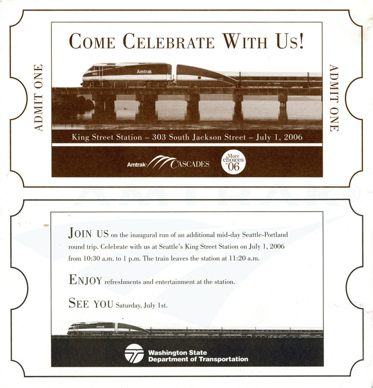 <i>Amtrak Cascades</i> commemorative ticket, 2006.