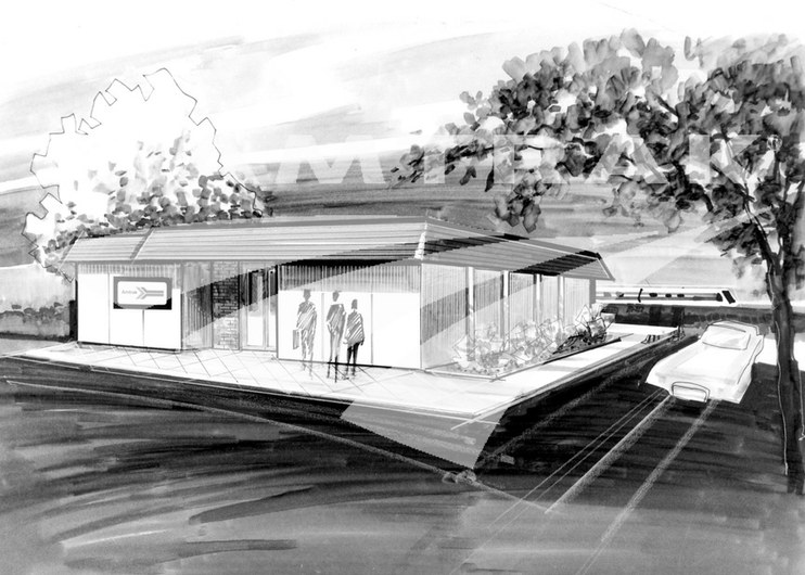 Amtrak concept station, 1970s.
