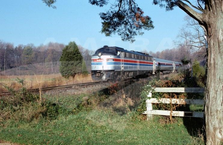 Amtrak E8 locomotive #284, mid-1970s.