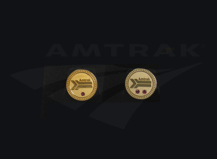 Amtrak service pins, 1980s.