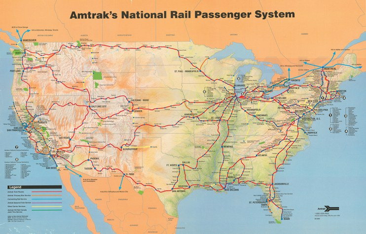 Amtrak system map, 1993. — Amtrak: History of America\'s Railroad