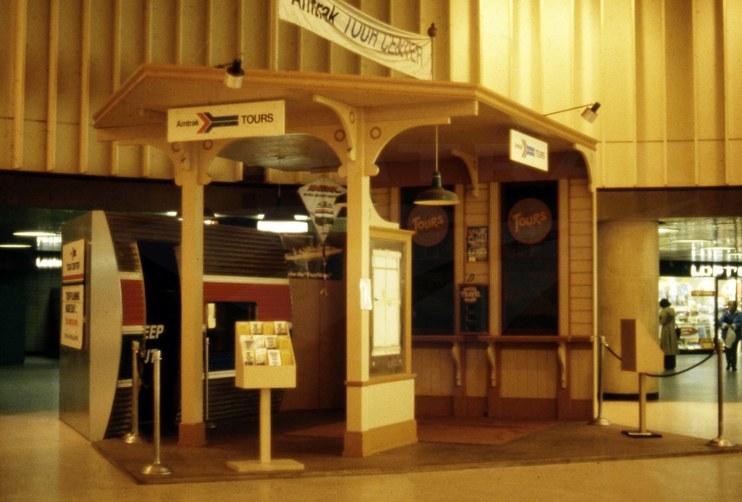 Amtrak tour desk at New York Penn Station, 1978.
