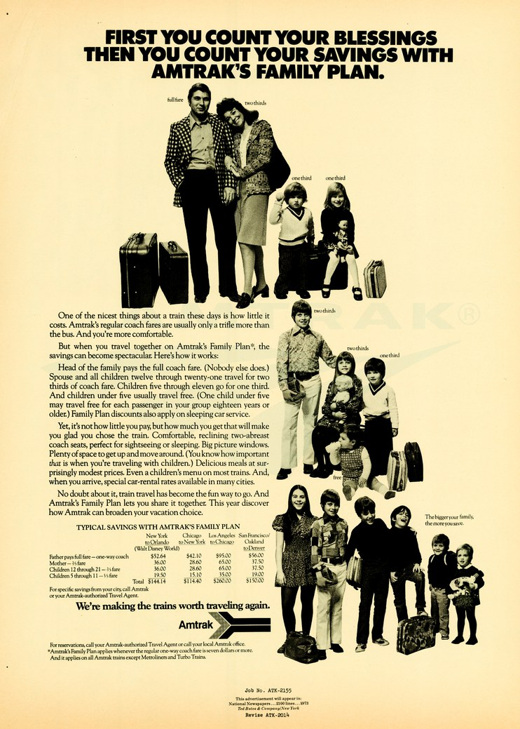 """Amtrak's Family Plan"" advertisment, 1973."