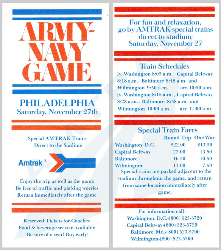 Army-Navy Game flyer, 1970s.
