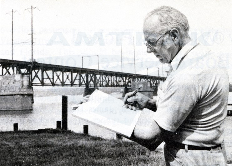 Artist Gil Reid sketching the Susquehanna River Bridge, 1979.