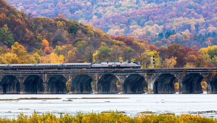 """Autumn Express"" crossing the Rockville Bridge, 2013."