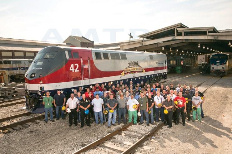 Beech Grove employees with the Amtrak Veterans Locomotive, 2013.