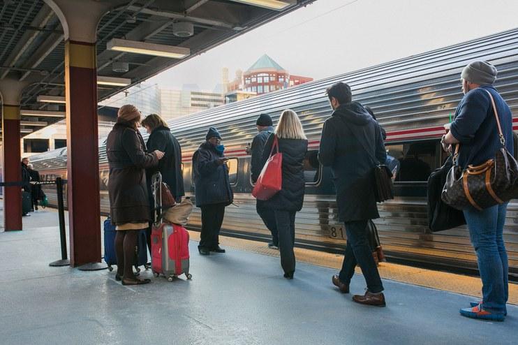 Boarding the <i>Northeast Regional</i> in Boston, 2016.