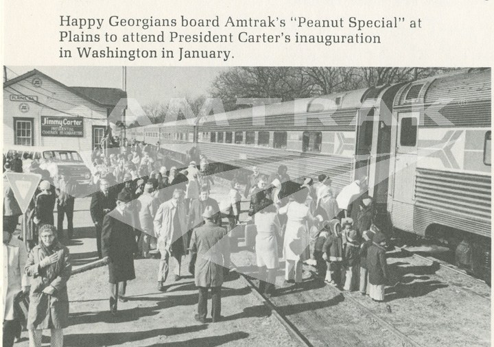"Boarding the ""Peanut Special"" at Plains, Ga."