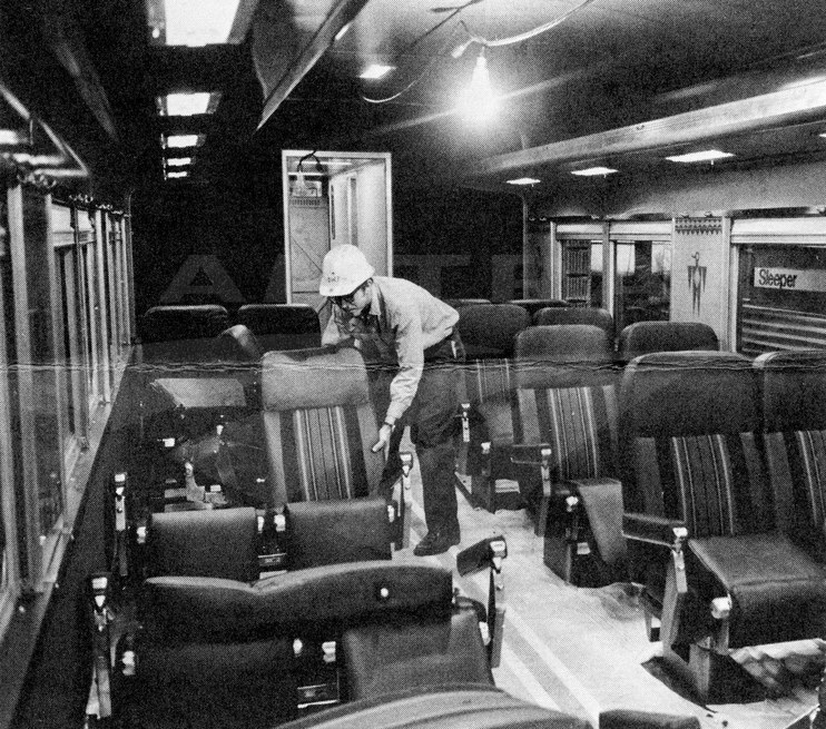 Carman-trimmer installing new seats, 1980.