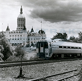 <i>Connecticut Valley Service</i> train departing Hartford, 1980s.