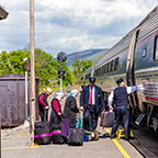 Customers boarding the <i>Pennsylvanian</i> at Lewistown, 2016.