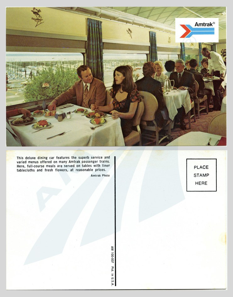 """Deluxe dining car"" postcard, early 1970s."