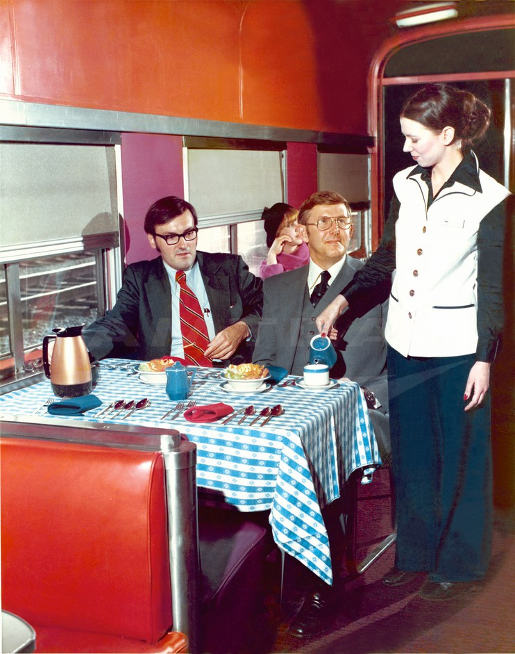 Dining car interior, 1976.