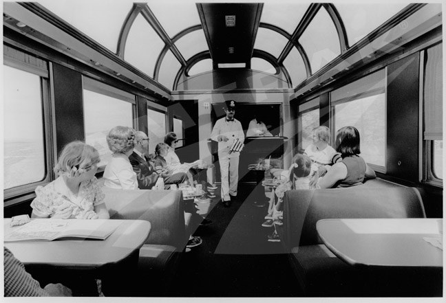 Dinner Bell in the Dome Lounge Car.