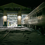 <i>Downeaster</i> Layover Facility at night, 2016.