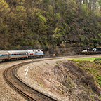 Eastbound <i>Pennsylvanian</i> on Horseshoe Curve, 2016.
