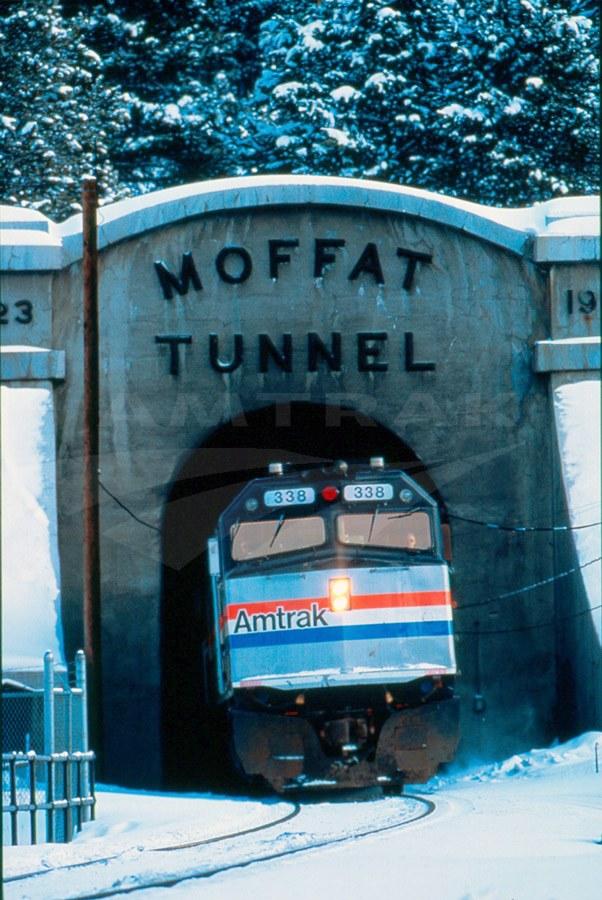 <i>California Zephyr</i> exiting Moffat Tunnel, 1990s.