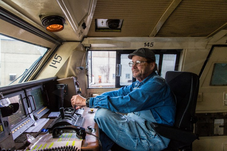 Locomotive engineer operating the eastbound <i>Pennsylvanian</i>, 2016.