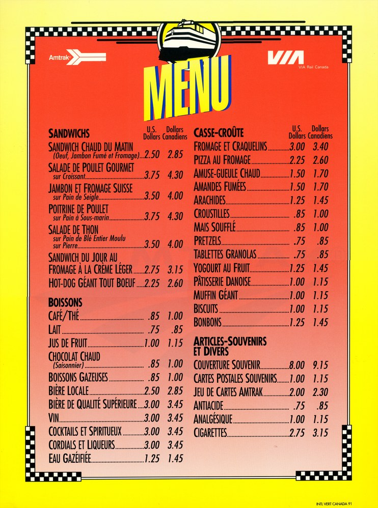 French Language Cafe Car Menu   Amtrak History Of AmericaS