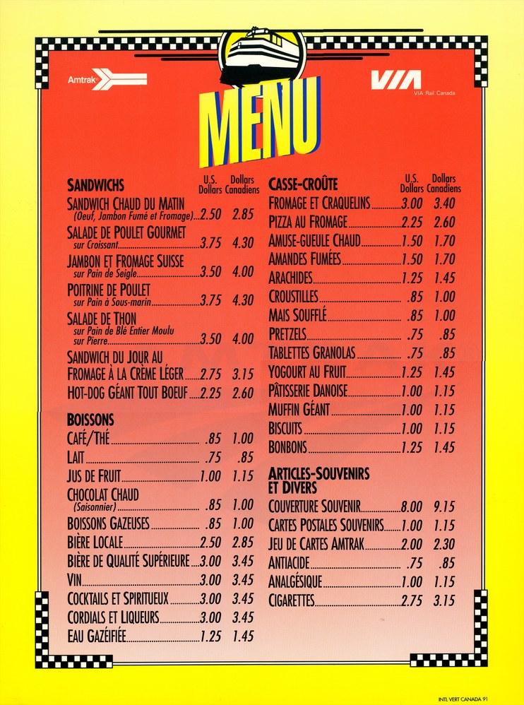 French language cafe car menu, 1991.