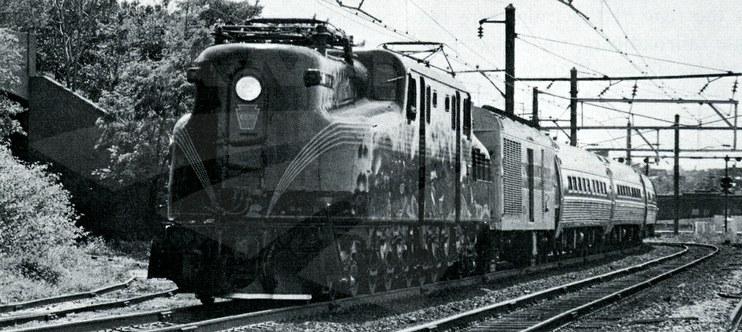 GG-1 locomotive No. 4935 leading the <i>Murray Hill</i>, 1977.