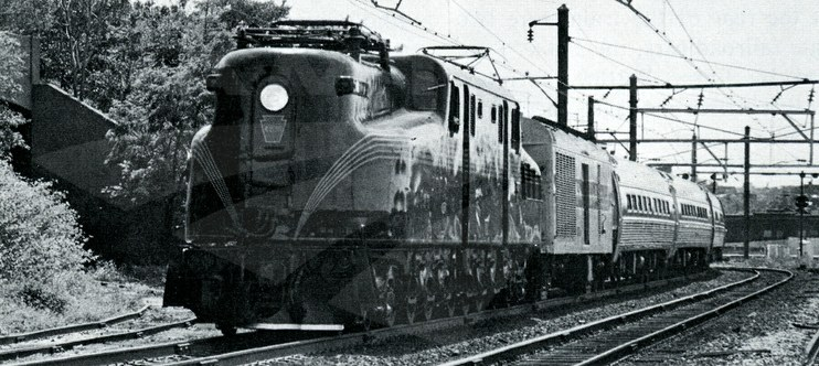 GG-1 locomotive #4935 leading the <i>Murray Hill</i>, 1977.