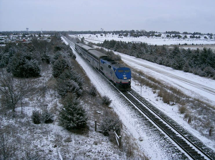 <i>Heartland Flyer</i> in the snow, 2000s.