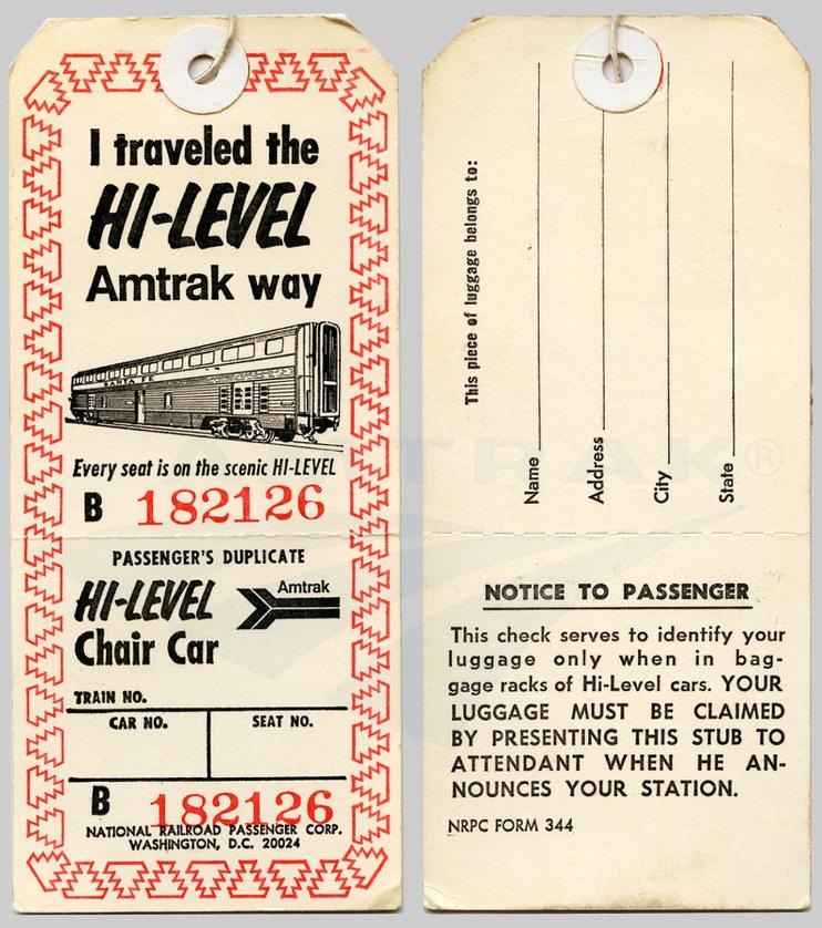 Hi Level Baggage Tag 1970s Amtrak History Of America