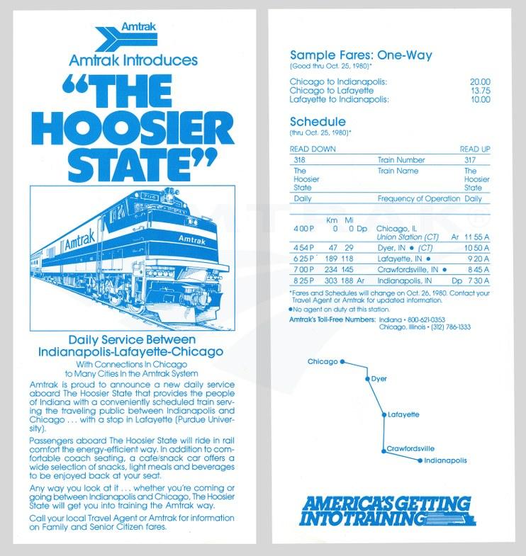 <i>Hoosier State</i> flyer, 1980.