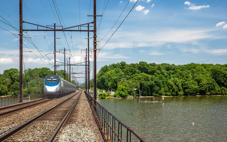 <i>Acela Express</i> crossing the Bush River in northeastern Maryland, 2014.
