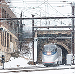<i>Acela Express</i> exiting Union Tunnel in Baltimore, 2013.